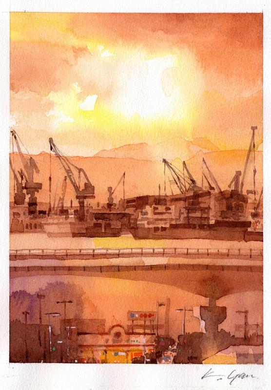 港・残照  port in afterglow, Hakodate
